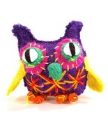 Bright Colorful Owl Figure Uzbekistan Stuffed Figurine Boiled Wool Funny... - £8.73 GBP