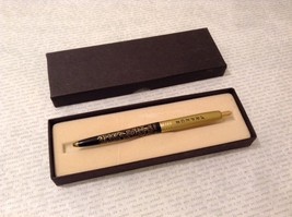 Vintage Perfume Ad Writing Pen Arpege 14K Gold Filigree Black Gold tone