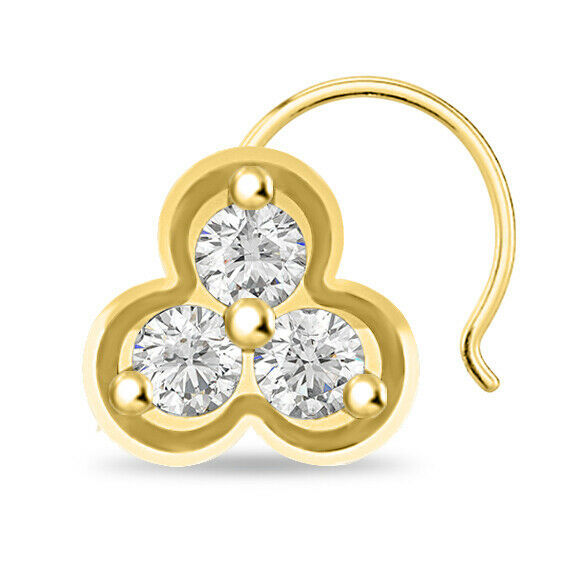 Primary image for 0.74 ct Round Cut Brilliant Diamond Three Stone Nose Pin 14k Yellow Gold Finish