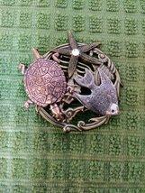 Unique Decorative Pin Copper Tone Turtle, Starfish W/Diamond, Angel Fish Silver  image 2