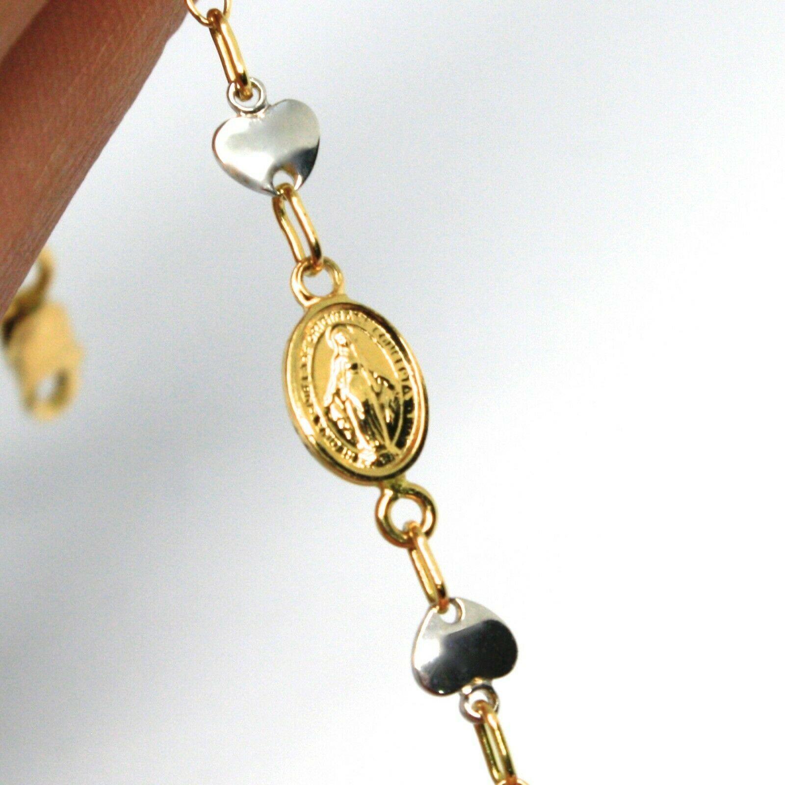 Goldarmband Gelb Weiß 18K 750, Kreuz, Wundertätige Medaille, Herz, 17 CM