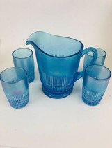 Fenton Blue  Opalescent Large Pitcher And Tumblers/Glasses 90th - $128.70
