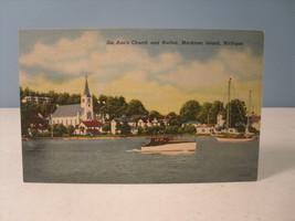 Ste Ann Church & Harbor Mackinac Island Michigan Curt Teich Linen Postca... - $7.31