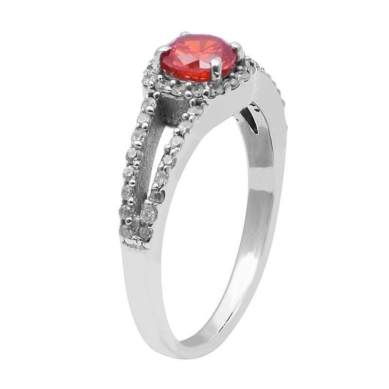 Orange Cz,White Topaz 925 Sterling Silver Ring Shine Jewelry Size-7 SHRI1468