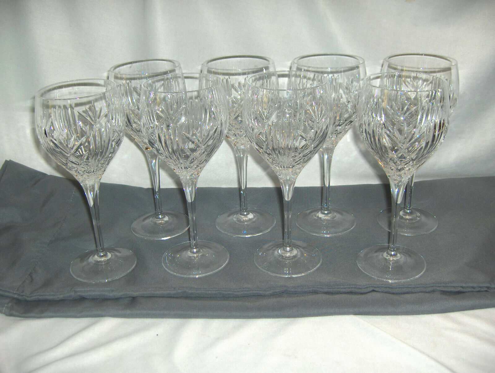 8 Vintage Royal Doulton Fine Crystal Summit Water Goblet Criss Cross Spears NICE - $193.05