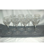8 Vintage Royal Doulton Fine Crystal Summit Water Goblet Criss Cross Spe... - $193.05