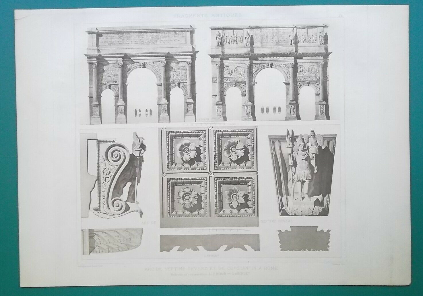 Primary image for ROME Arch of Septimus Severus & Constantine Facade Details - 1905 d'Espouy Print