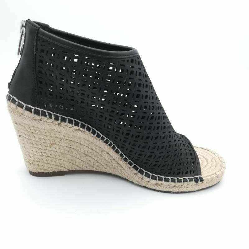 Vince Camuto Womens Lereena Espadrilles Sandals Black Wedge Heel Peep 8.5 M New - $49.49