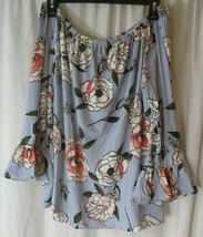 Kristin Nicole Top Large Striped W/Flowers Off Shoulder Bell Cuff Soft  - $16.82
