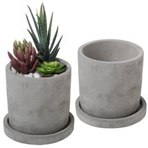 Modern Cement Succulent Planter Pots Unglazed Removable Saucer Cacti 2 S... - $25.99