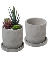 Modern Cement Succulent Planter Pots Unglazed Removable Saucer Cacti 2 S... - $33.23 CAD