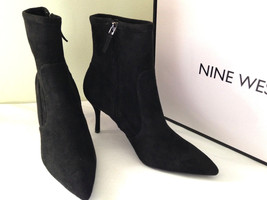 NEW! Nine West CADENCE Sexy Suede Like Textile Booties Black Boots 10.5 ... - €68,59 EUR