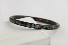 "VINTAGE Jewelry 1/4"" THICK BLACK CLOISONNE BANGLE BRACELET Asian CHINESE... - $10.00"