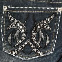 Request Women's Dark Blue Distressed Rhinestone Embellished Jeans Size 13/32 image 6