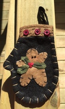 7D3915  - Christmas Felt Mittens Black with Holly and Gingerbread  - $2.50