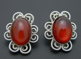 Red Quartz Oval Stone Flower Silver Tone Clip-On Earrings Vintage - $19.79