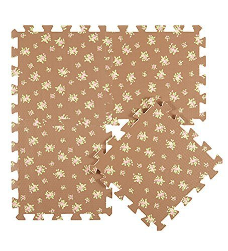 Interlocking Foam Mats EVA Foam Floor Mats (Denticle & 9 Tiles) Brown Flowers