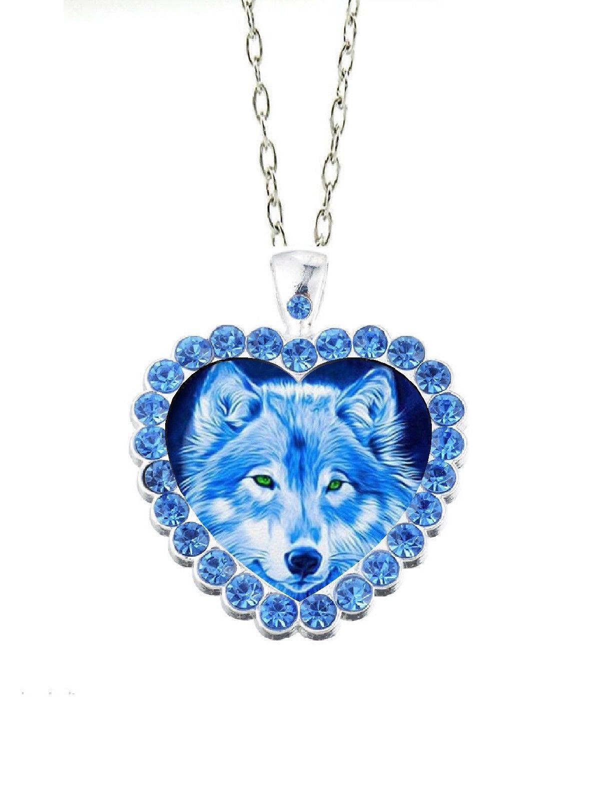 "Blue Rhinestone Blue Wolf  Heart  20"" Chain Glass Cabochon Pendant Necklace"