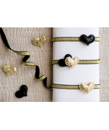 valentine's day, baby headbands, black and gold, headbands, heart, glamour - £3.01 GBP+
