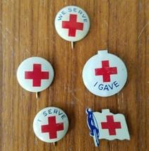 5 Vintage Red Cross Pins: Flag, I Serve, We Serve, I Gave Pin Back Butto... - $11.64