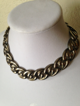 Vintage Modernist Dark Silver Tone Chunky Wave Chain Fashion Necklace  - $40.00