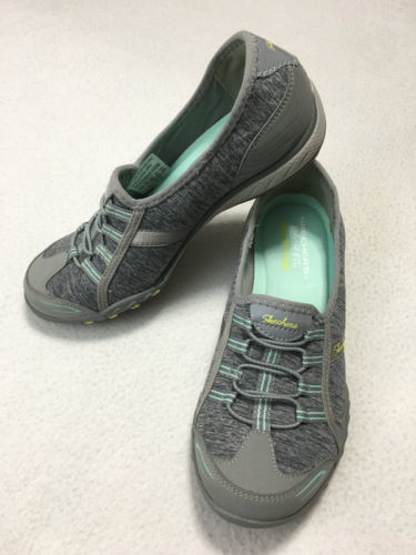Skechers Womens 6.5 Relaxed Fit Breathe Easy Good Life Sneakers Shoes Gray Mint image 1