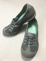 Skechers Womens 6.5 Relaxed Fit Breathe Easy Good Life Sneakers Shoes Gray Mint - $24.99