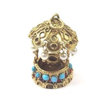 14k Yellow Gold Vintage Wishing 3D Water Well With Color Stones Charm Pe... - $536.13