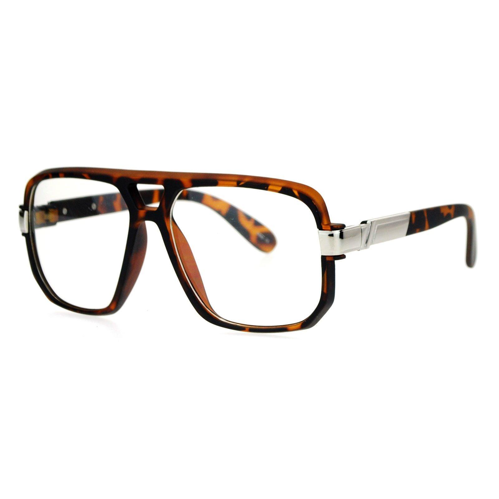 SA106 Retro Hip Hop Rapper Oversize Rectangular Mob Eye Glasses Tortoise