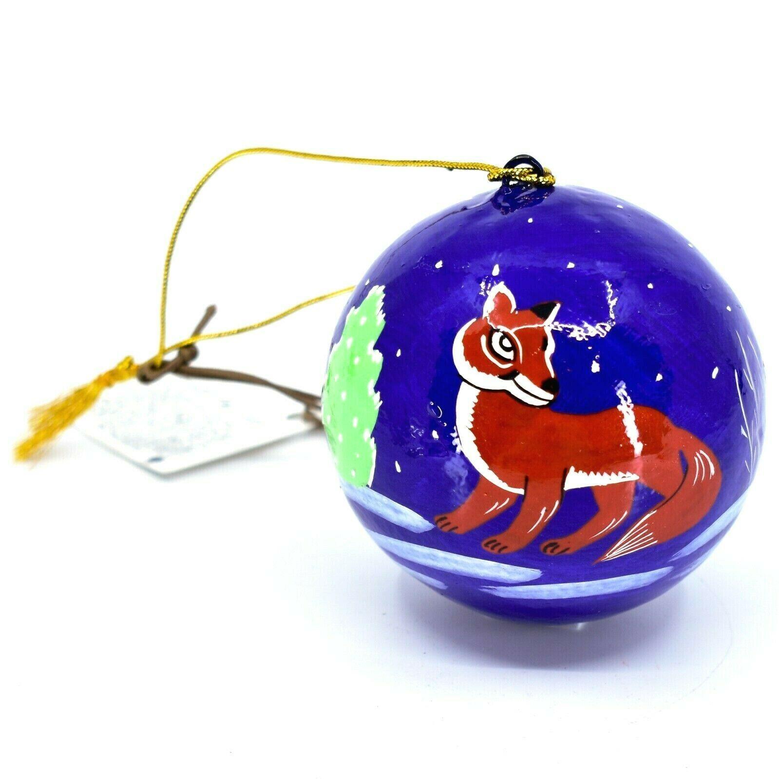 Asha Handicrafts Hand Painted Papier-Mâché Red Fox Holiday Christmas Ornament