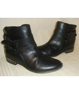 Steve Madden KARENA Black Leather Ankle Buckle Booties Boots Size 7,Used... - $29.69