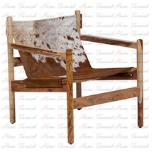 Genoa Cowhide Sling Chair Brown Leather Lounge Chairs Handmade Furniture  - $460.00
