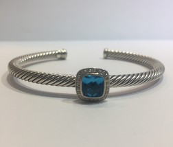 David Yurman Albion Bracelet with Blue Topaz and Diamonds (Medium) - $755.00