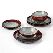 Ceramic Red 12-Piece Dinnerware Set with 4 x Dinner Plate 4 x Dessert Pl... - $116.46