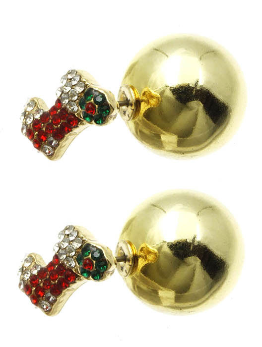Bling Crystals Christmas Stocking Double Sided Ball Earrings Goldtone