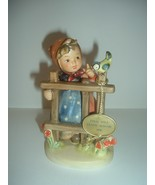 Hummel HUM 203 Signs of Spring girl bird fence Figurine Final Issue - $45.00
