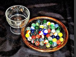 Marbles in a Custard Dish with 1 Shooter AA18 - 1174-C 50 Vintage image 3