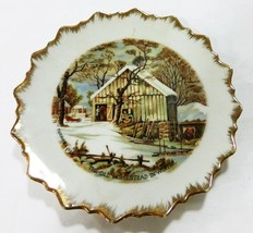 Currier and ives the farmer's home in winter scene plate made in japan v... - $6.92