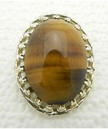 VTG Gold Tone Oval Shape & Glass Tiger's Eye Pin Brooch - $9.90