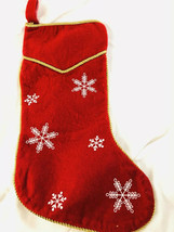 gold chord and snowflake Design Christmas Holiday Stocking - $12.38