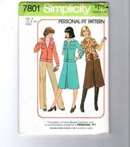 1976 Simplicity #7801Jacket Pantskirt Gaucho Cullotte Pattern 2-Size 12/14 - $14.36