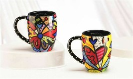 Romero Britto Set of 2 Black Ceramic Mugs - Butterfly & A New Day -12oz  #339047