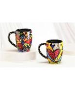 Romero Britto Set of 2 Black Ceramic Mugs - Butterfly & A New Day -12oz ... - $49.49