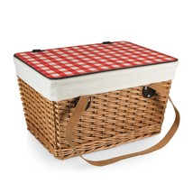 Picnic Time Canasta-Natural Flat Lid Basket Willow Red Check Lid - $49.95