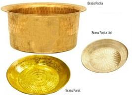 Brass Patila Tope Topia Bhaguna With Lid Pan 4 Liter & Dough Atta Parat ... - $85.13