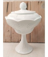 Milk Glass Pedestal Wedding Bowl Indiana Glass Harvest Grape Pattern w/ ... - $19.99