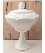 Milk Glass Pedestal Wedding Bowl Indiana Glass Harvest Grape Pattern w/ ... - $15.99