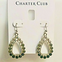Charter Club Silver-Tone Crystal & Stone Ombré Drop Earrings NEW NWT 34.50 - $5.94