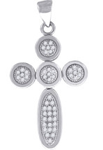 Sterling Silver Womens Round Cubic Zirconia CZ Cross Fashion Pendant - $55.00