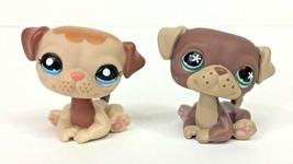Littlest Pet Shop Puppy Dog Sitting Pug Lot Brown #889 Tan #1753 Authent... - $229,21 MXN